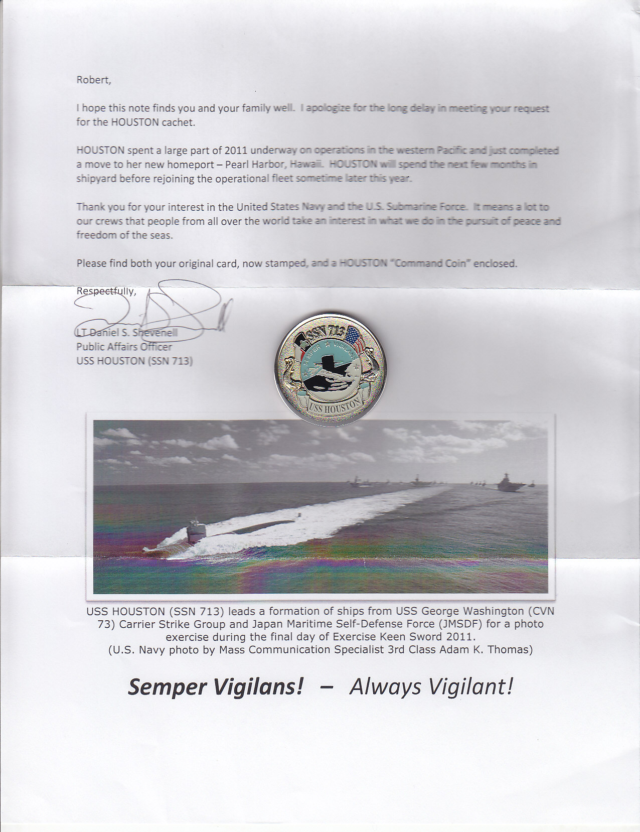 Brief von der USS HOUSTON SSN-713