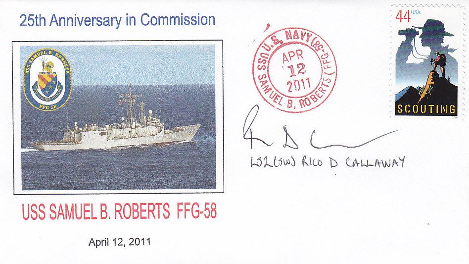 Beleg USS SAMUEL B. ROBERTS FFG-58 25 Jahre im Dienst