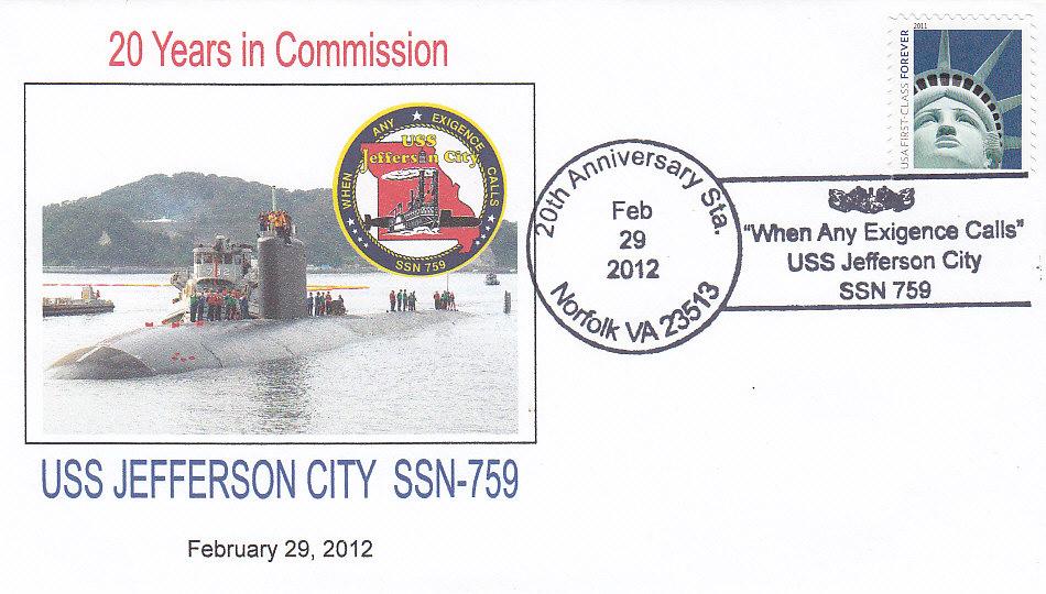 Beleg USS JEFFERSON CITY SSN-759  20 Jahre im Dienst