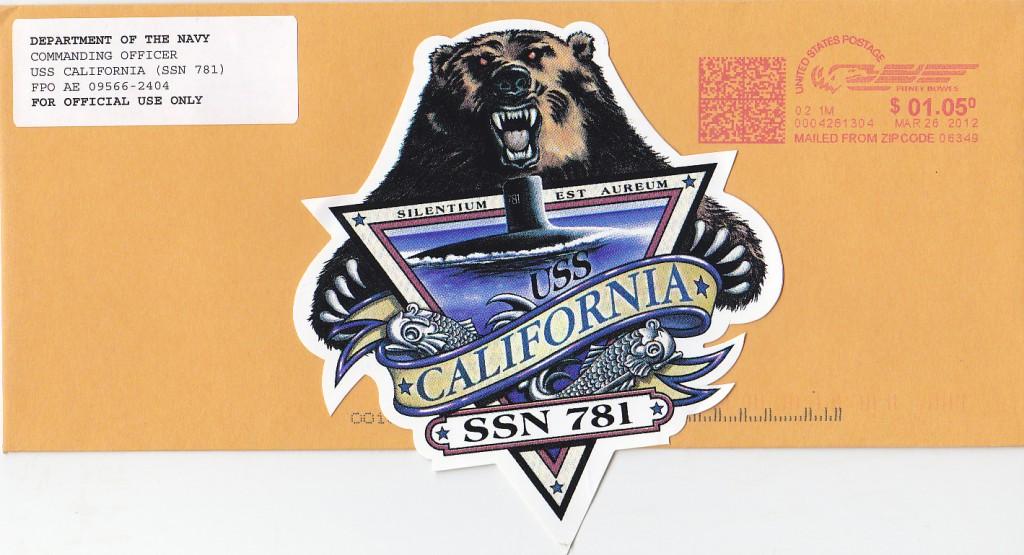 Von der USS CALIFORNIA SSN-781 abgesandter Dienstumschlag mit Aufkleber