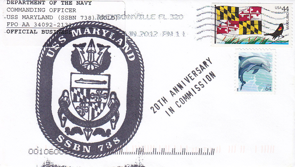 Beleg USS MARYLAND SSBN-738 20th Anniversary