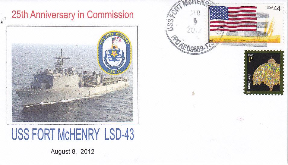 Beleg USS FORT McHENRY LSD-43 25 Jahre im Dienst Vorderseite