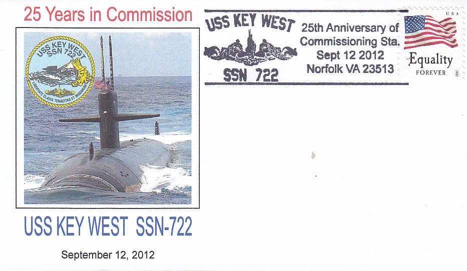 Beleg USS KEY WEST SSN-722 25 Jahre im Dienst