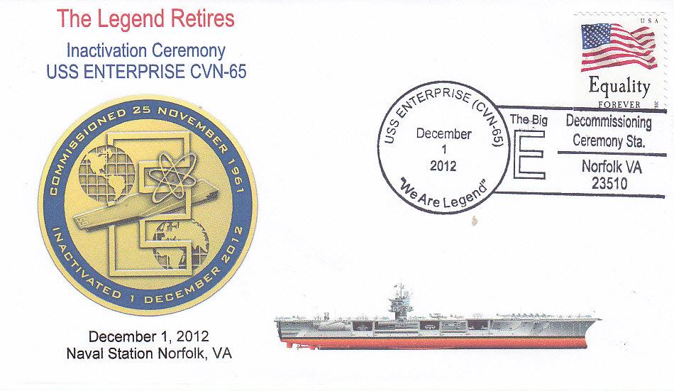 Beleg USS ENTERPRISE CVN-65 Inaktivierung Norfolk, Va