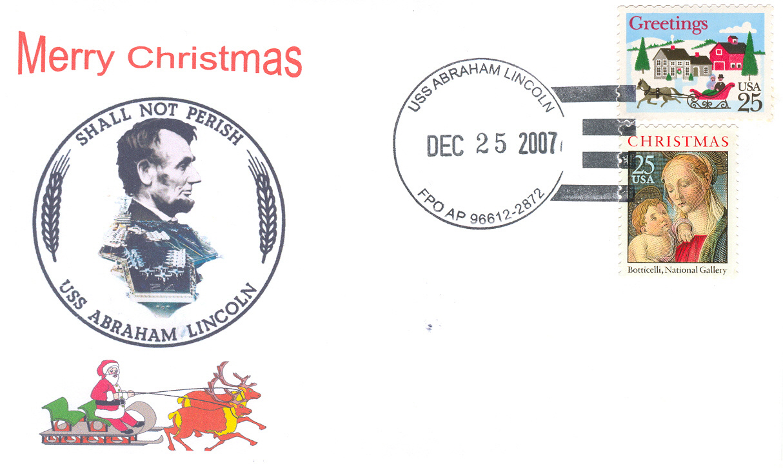 Beleg USS ABRAHAM LINCOLN CVN.72 Christmas 2007