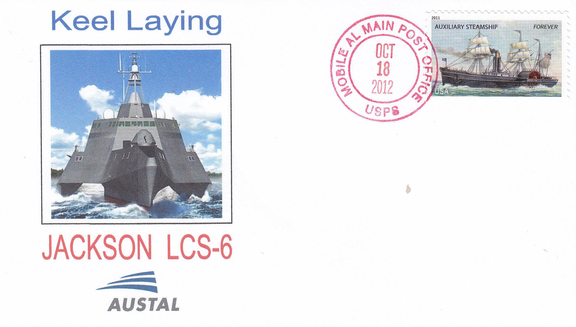 Beleg USS JACKSON LCS-6 Kiellegung