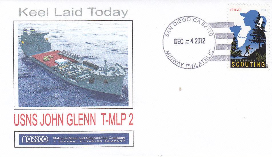 Beleg USNS JOHN GLENN T-MLP 2 Kiellegung