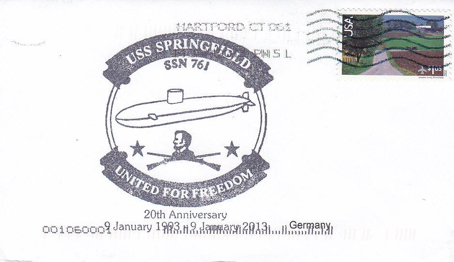 Beleg USS SPRINGFIELD SSN-761 20 Jahre im Dienst