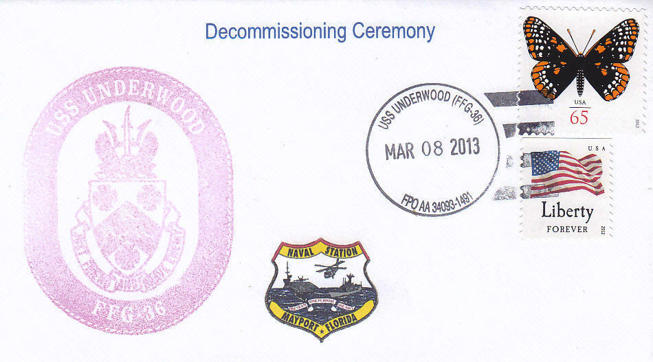 Beleg USS UNDERWOOD FFG-36 Decommissioning Ceremony
