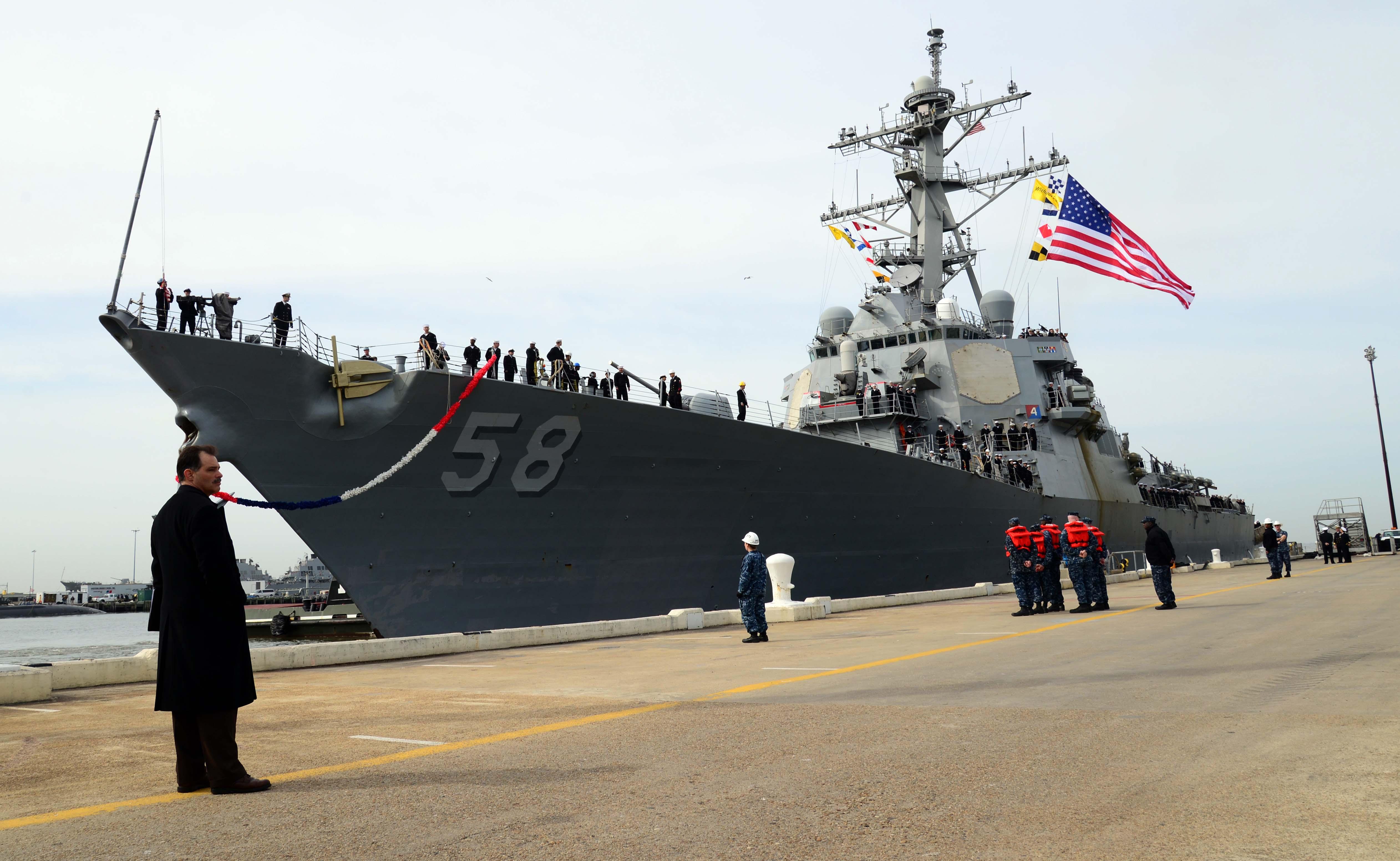 USS LABOON DDG-58 Ankunft Norfolk 11.03.2013Bild: U.S.Navy