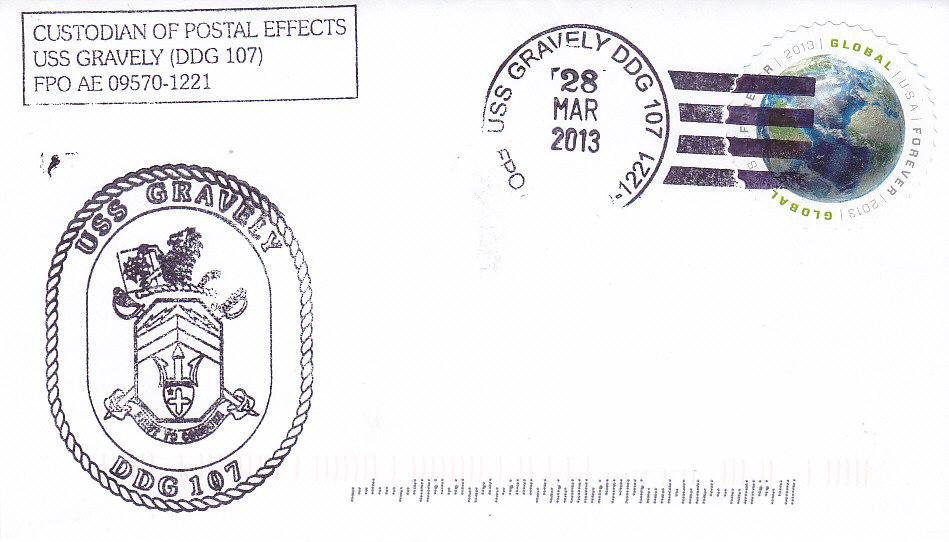 Beleg USS GRAVELY DDG-107 vom 28.03.2013