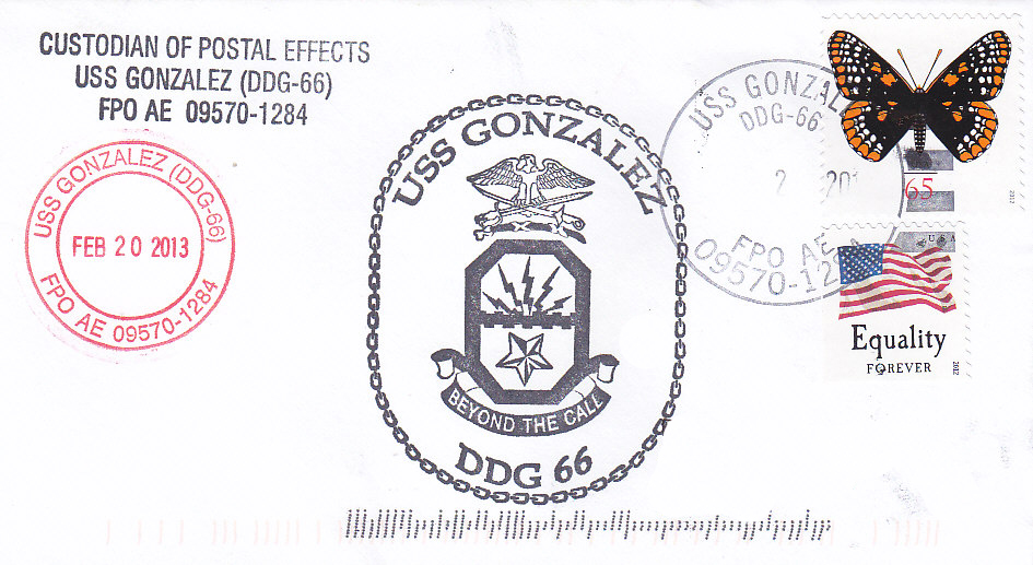 Beleg USS GONZALEZ DDG-66
