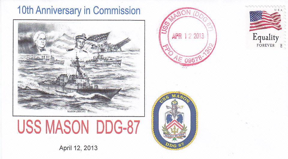 Beleg USS MASON DDG-87 10 Jahre im Dienst