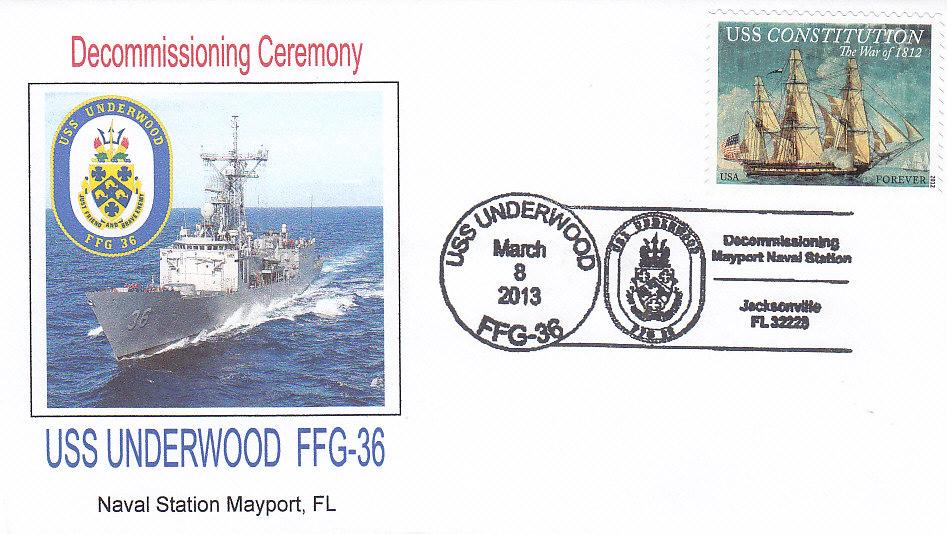 Beleg USS UNDERWOOD FFG-36 Decommissioning