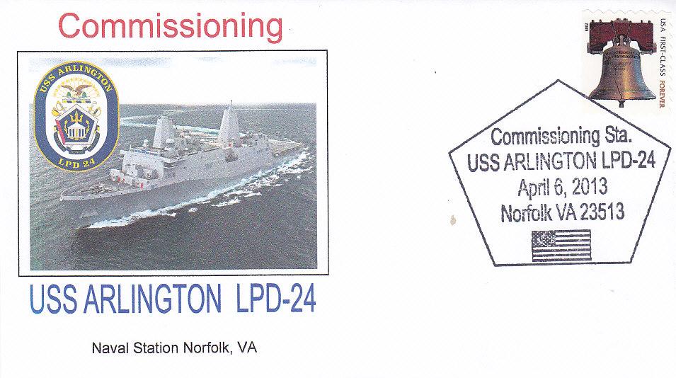 Beleg USS ARLINGTON LPD-24 Indienststellung