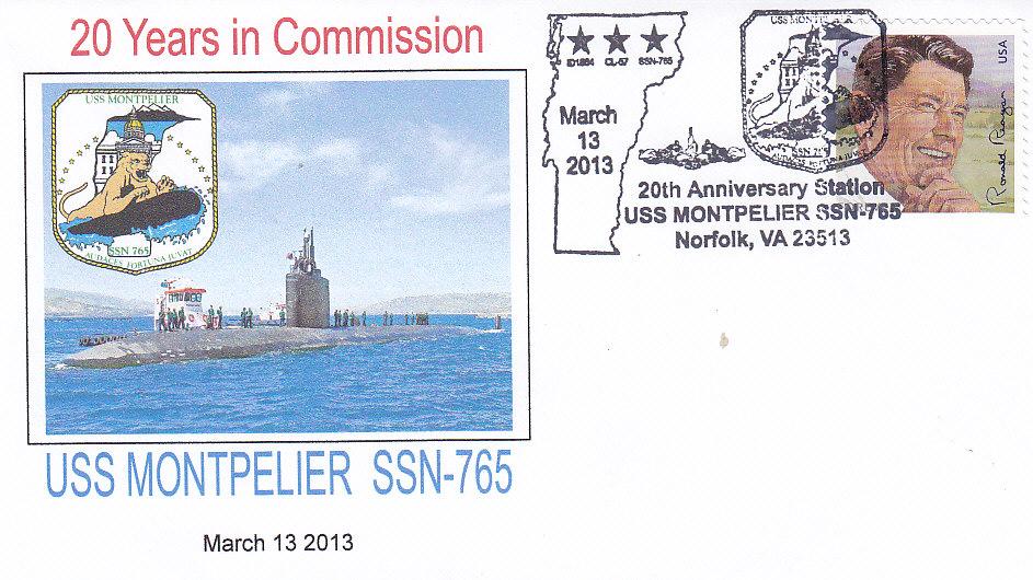 Beleg USS MONTPELIER SSN-765 20 Jahre