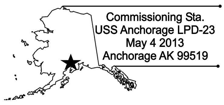 Sonderpoststempel USS ANCHORAGE LPD-23 CommissioningGrafik: USCS