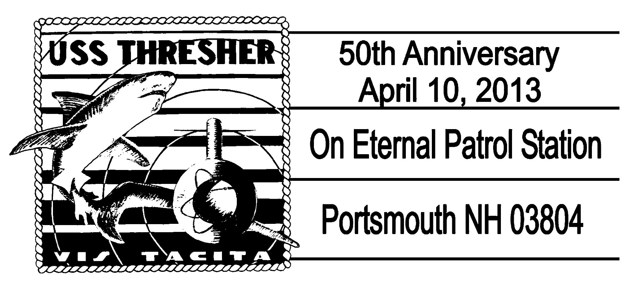 Sonderpoststempel USS THRESHER SSN-593 Portsmouth, NHDesign: USCS