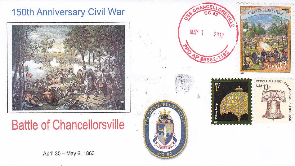 Beleg USS CHANCELLORSVILLE CG-62 zum 150. Jahrestag der Schlacht