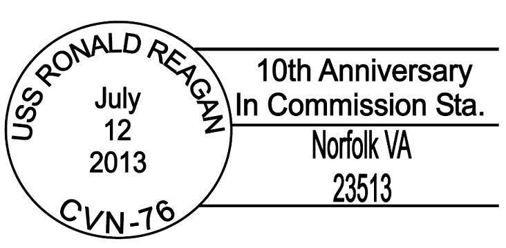 Sonderpoststempel USS RONALD REAGAN CVN-76 10 Jahre im Dienst für Norfolkerstellt durch USCS