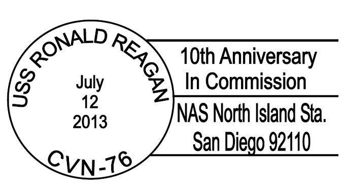 Sonderpoststempel USS RONALD REAGAN CVN-76 10 Jahre im Dienst für San Diegoerstellt durch USCS