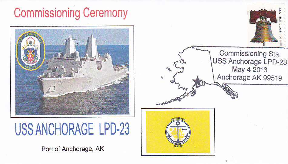 Beleg USS ANCHORAGE LPD-23 Commissioning Poststempel Anchorage