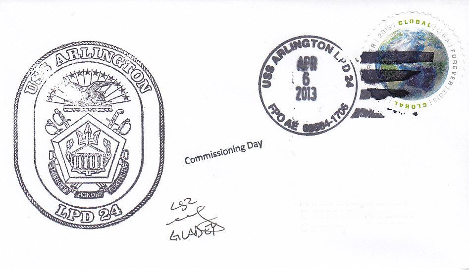 Beleg USS ARLINGTON LPD-24 Commissioning