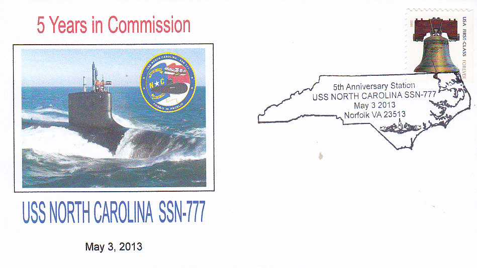 Beleg USS NORTH CAROLINA SSN-777 5 Jahre im Dienst Norfolk