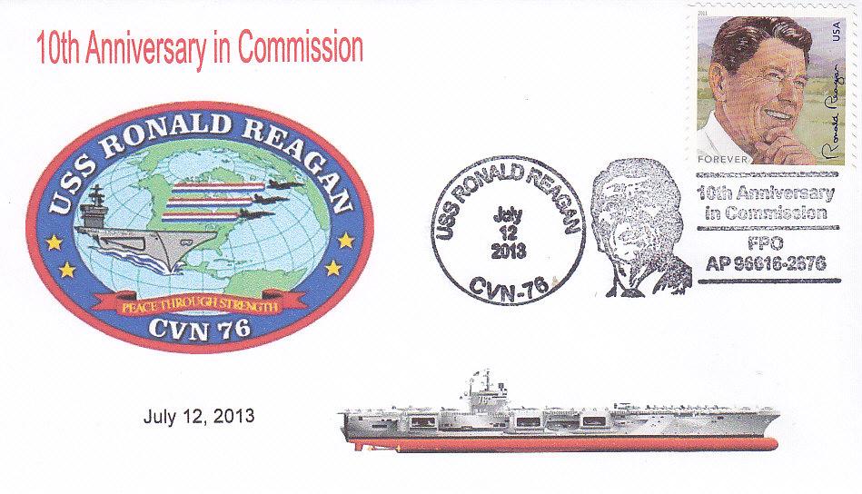 Beleg USS RONALD REAGAN CVN-76 mit Sonderbordpoststempel 10 Jahre im Dienst