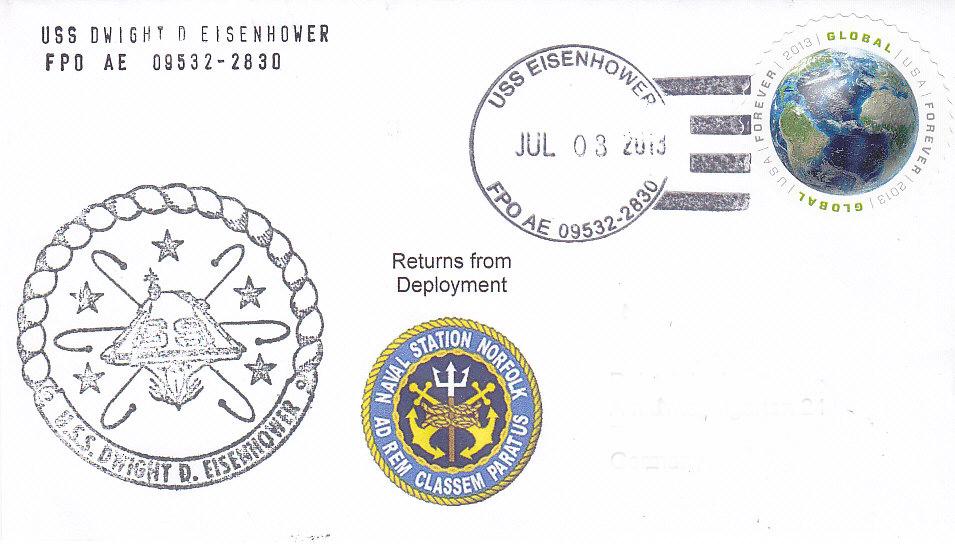 Beleg USS DWIGHT D. EISENHOWER CVN-69 vom 03.07.2013