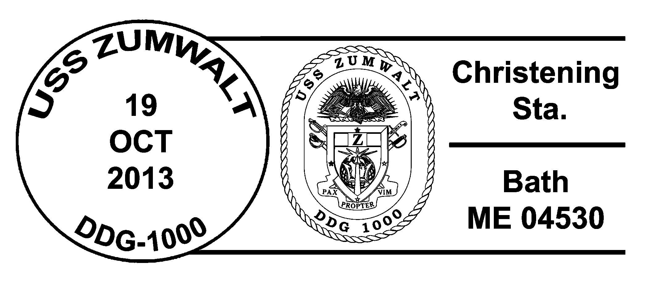 Sonderpoststempel Christening USS ZUMWALT DDG-1000Design: Wolfgang Hechler