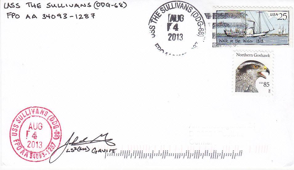 Beleg USS THE SULLIVANS DDG-68 vom 04.08.2013