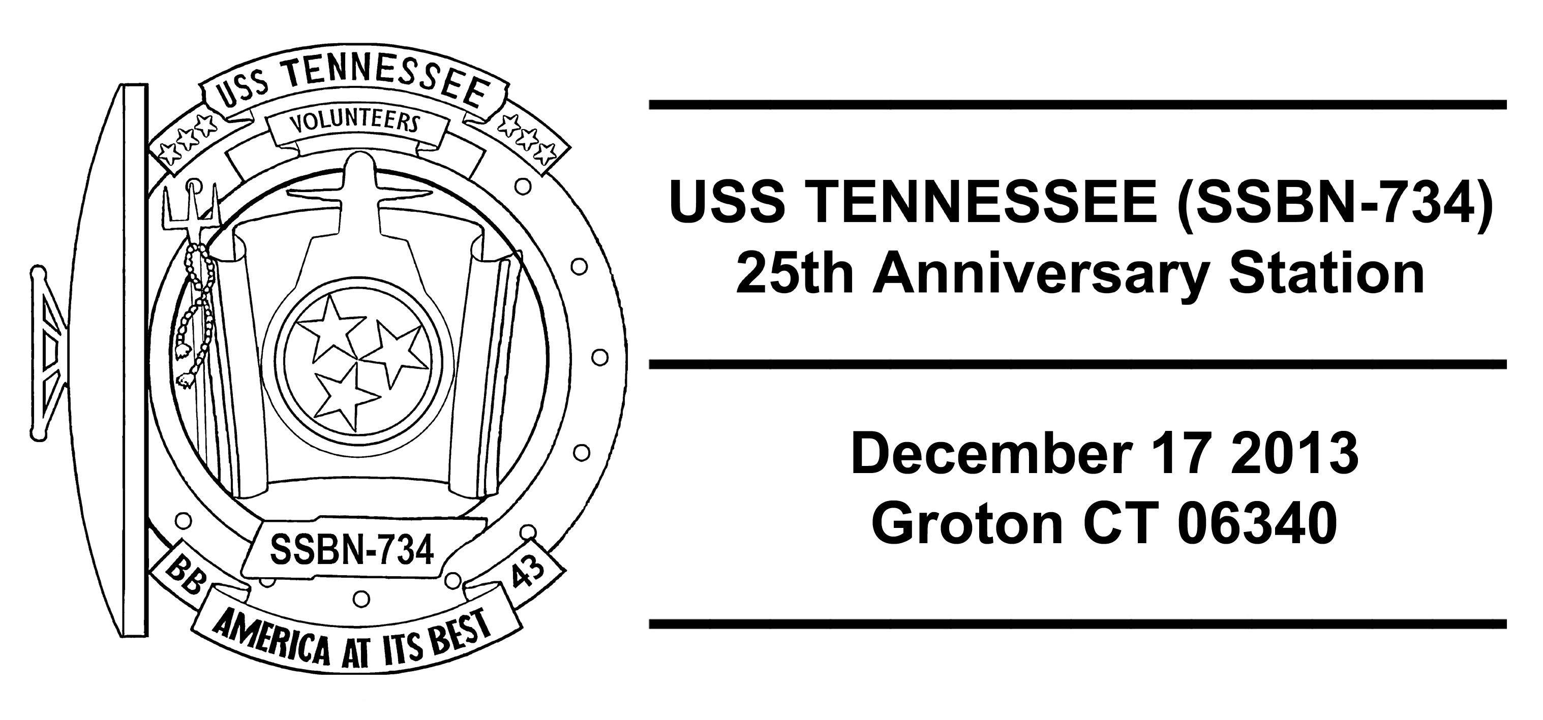 Sonderpoststempel USS TENNESSEE SSBN-734  25 Jahre im DienstDesign: Wolfgang Hechler