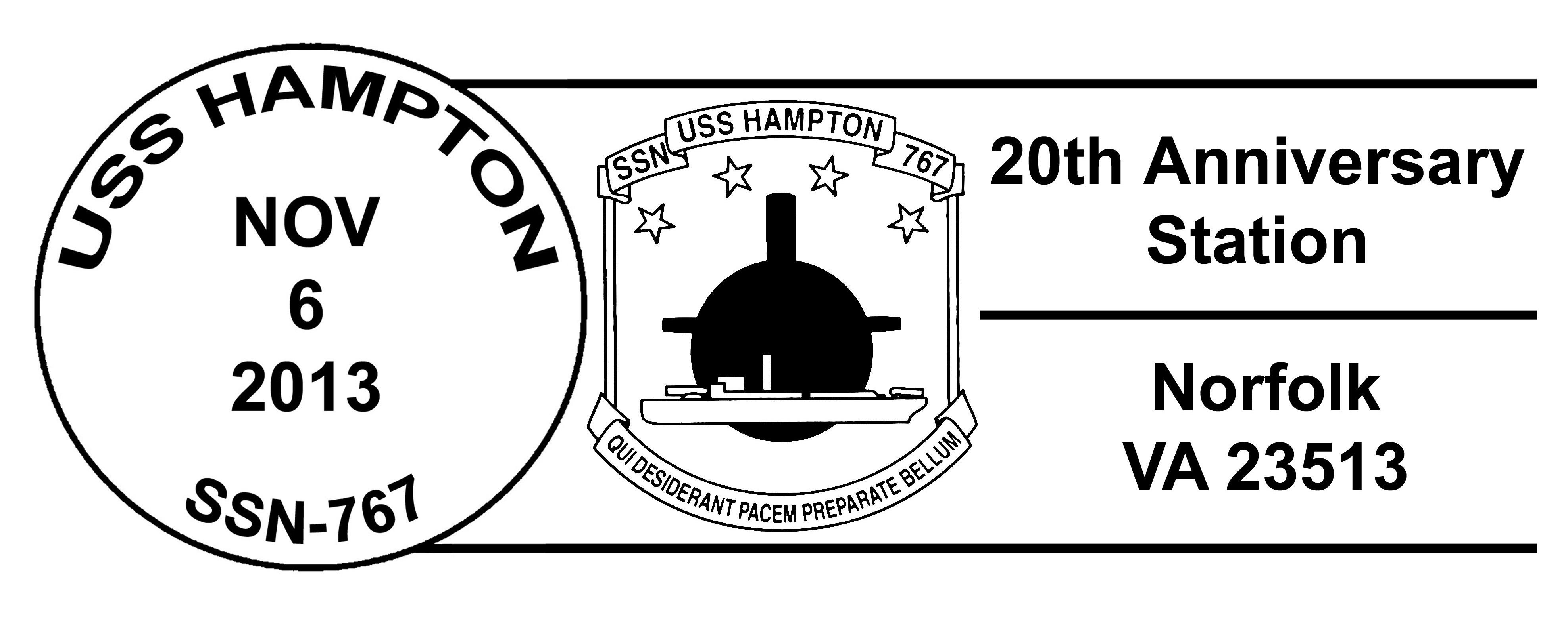 Sonderpoststempel USS HAMPTON SSN-767  20 Jahre im DienstDesign: Wolfgang Hechler