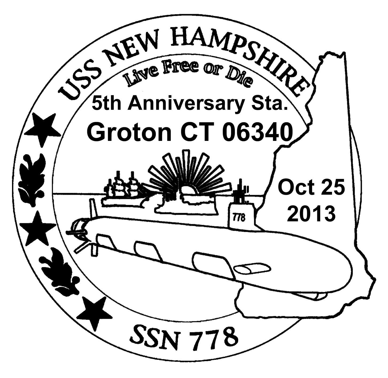 Sonderpoststempel USS NEW HAMPSHIRE SSN-778 5 Jahre im DienstDesign: Wolfgang Hechler