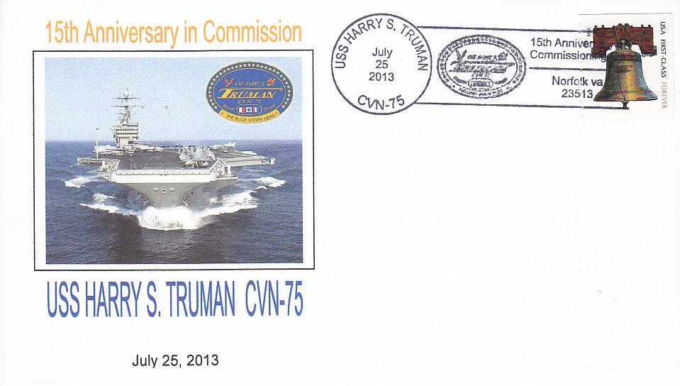 Beleg USS HARRY S. TRUMAN CVN-75 15 Jahre im Dienst Norfolk