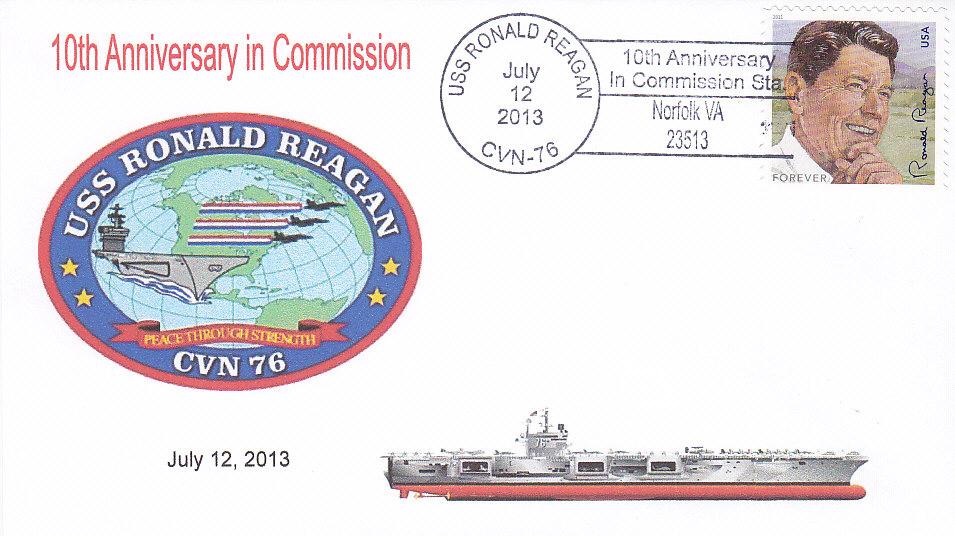 Beleg USS RONALD REAGAN CVN-76 10 Jahre im Dienst Norfolk