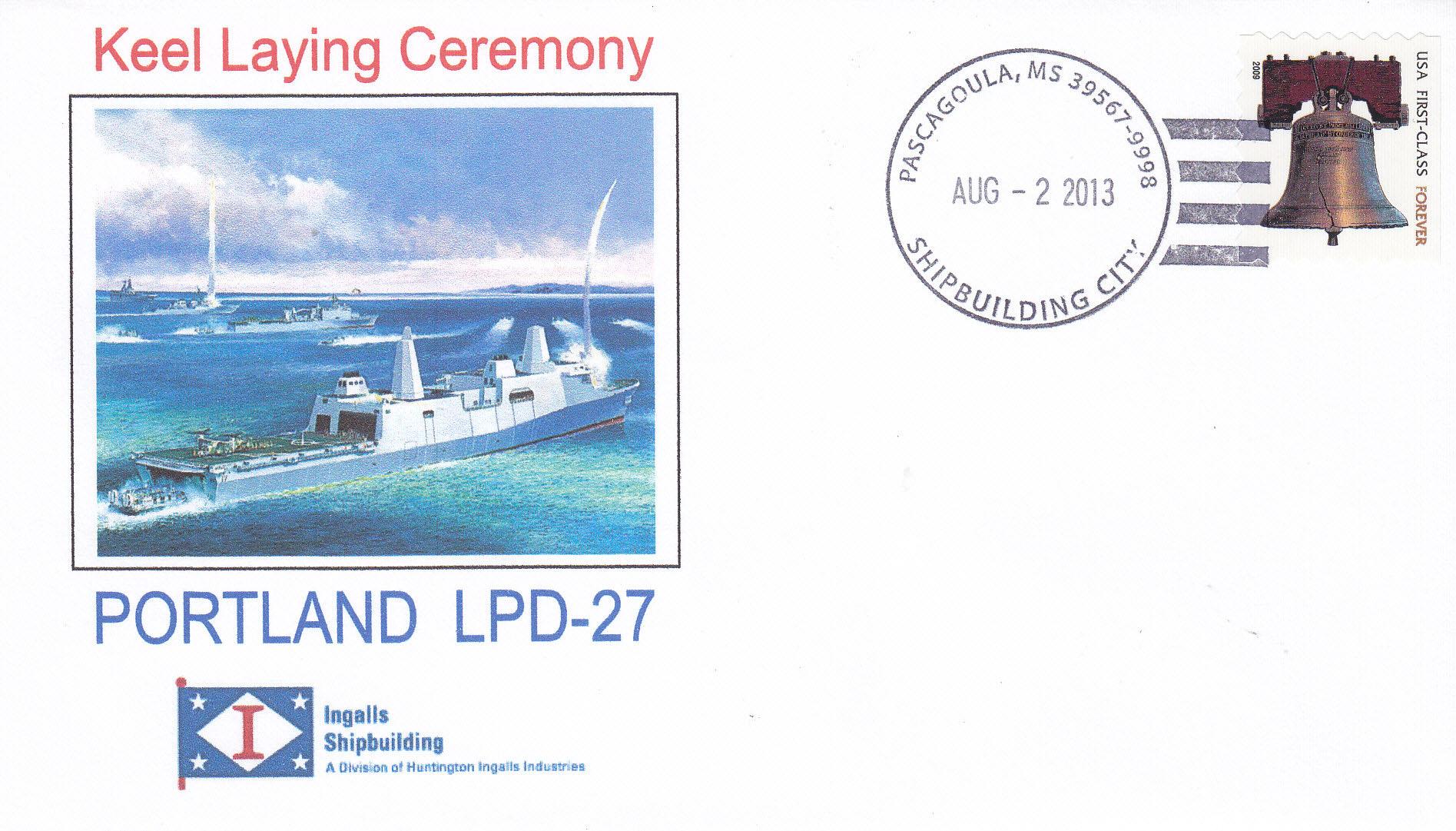 Beleg USS PORTLAND LPD-27 Kiellegung