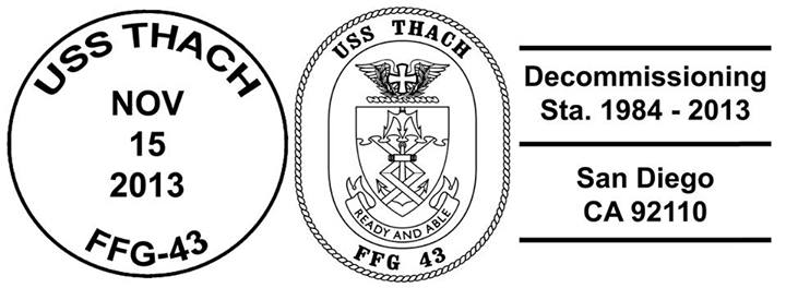 Sonderpoststempel Decommissioning USS THACH FFG-43Design: Wolfgang Hechler