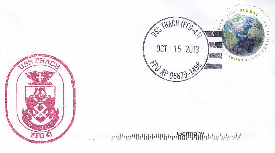 Beleg USS THACH FFG-43 vom 15.10.2013