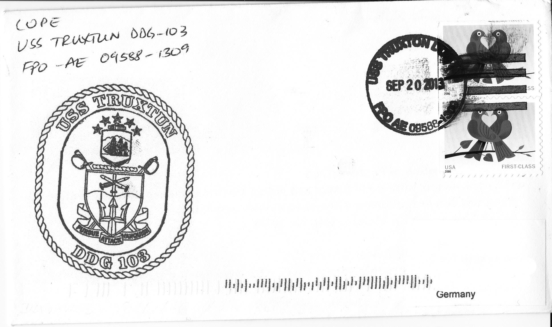 Beleg USS TRUXTUN DDG-103 vom 20.09.2013von Heinz Grasse