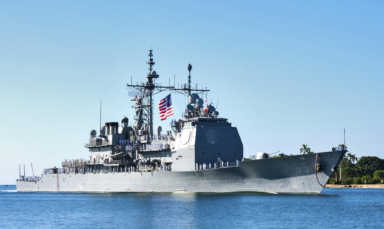 USS CHOSIN CG-65 Einlaufen Pearl Harbor 22.11.2013Bild: U.S. Navy