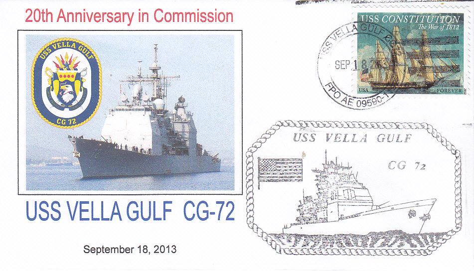 Beleg USS VELLA GULF CG-72 20 Jahre im Dienst