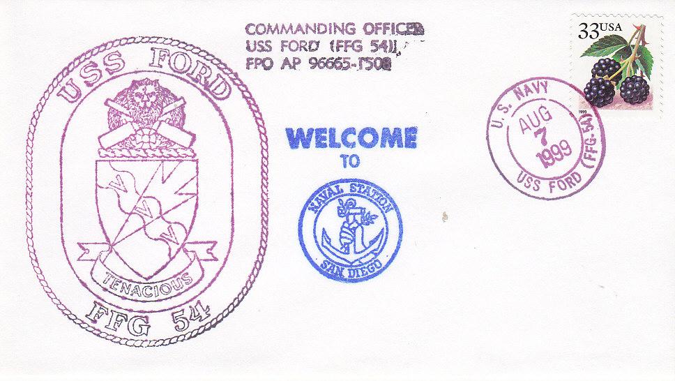 Beleg USS FORD FFG-54 vom 07.08.1999
