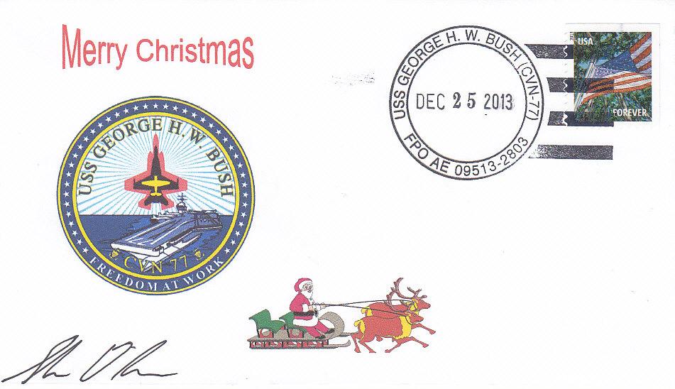 Beleg USS GEORGE H.W. BUSH CVN-77 Weihnachten 2013