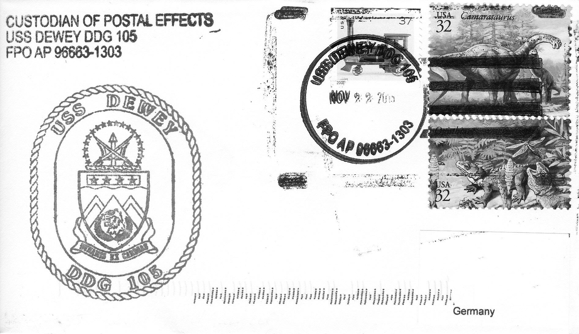 Beleg USS DEWEY DDG-105von Heinz Grasse