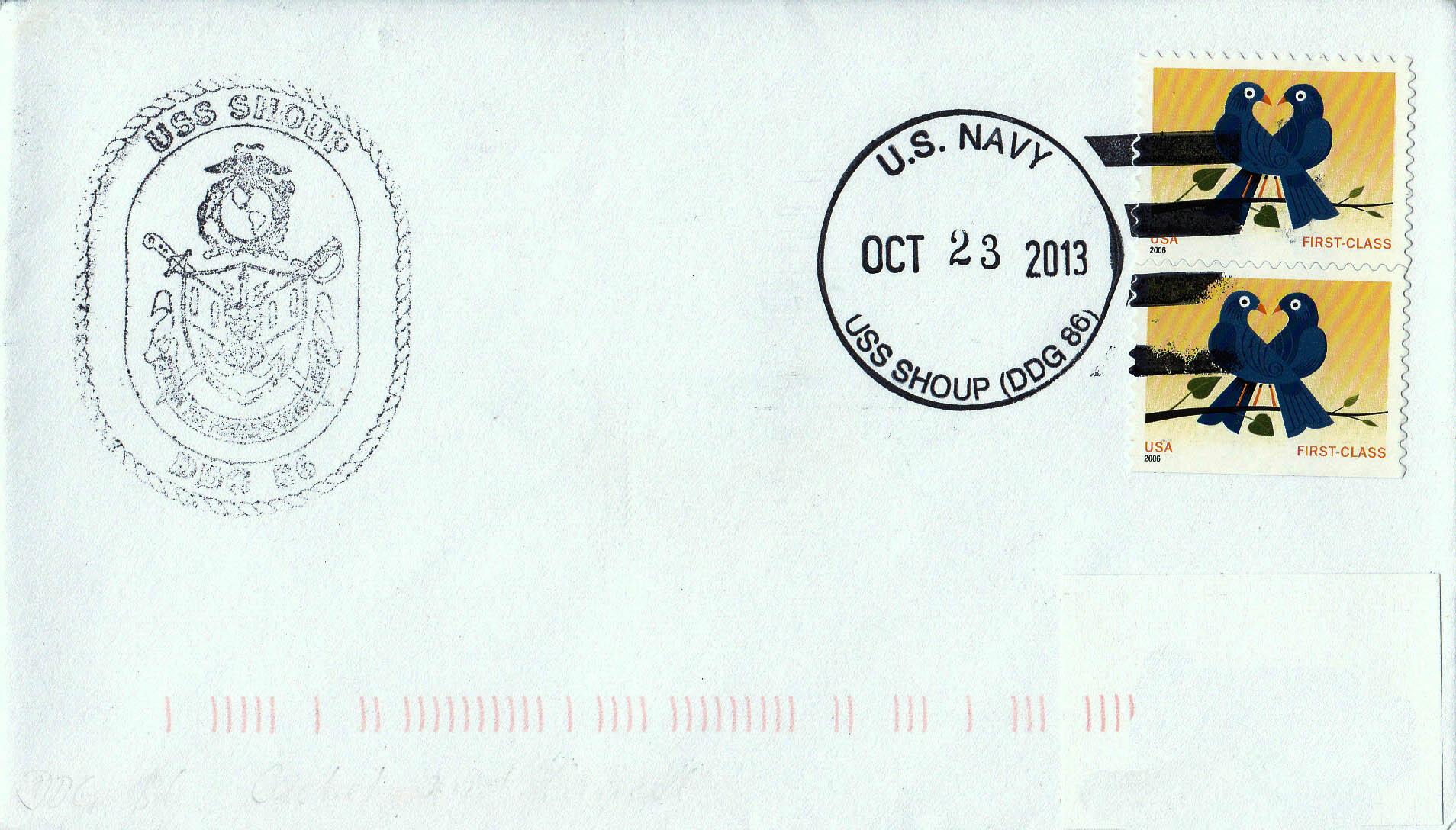 Beleg USS SHOUP DDG-86 vom 23.10.2013von Heinz Grasse