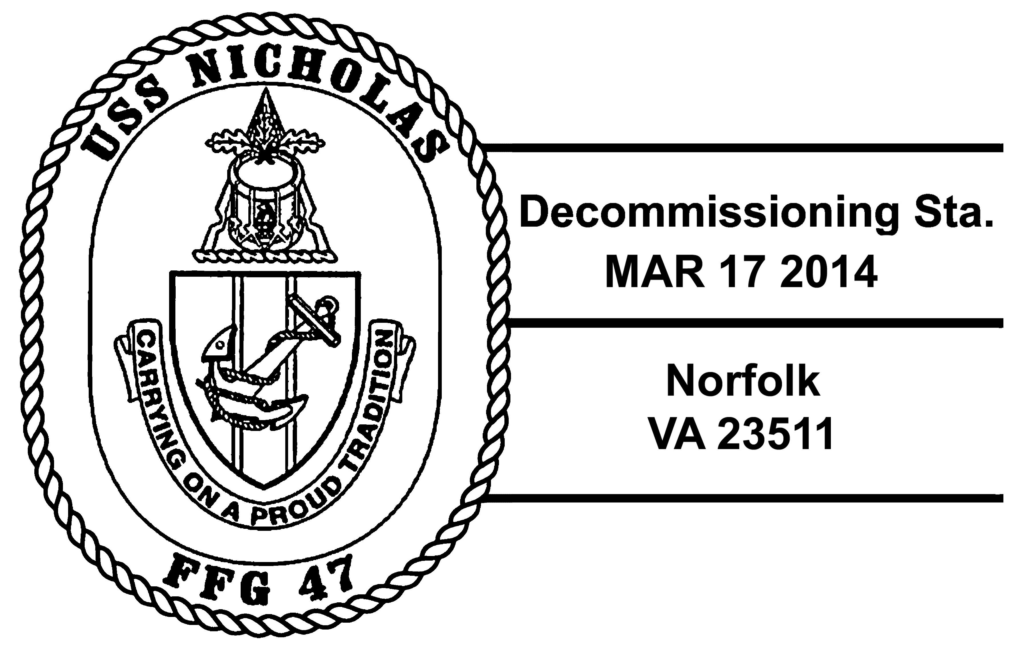 Sonderpoststempel USS NICHOLAS FFG-47 AußerdienststellungDesign: Wolfgang Hechler
