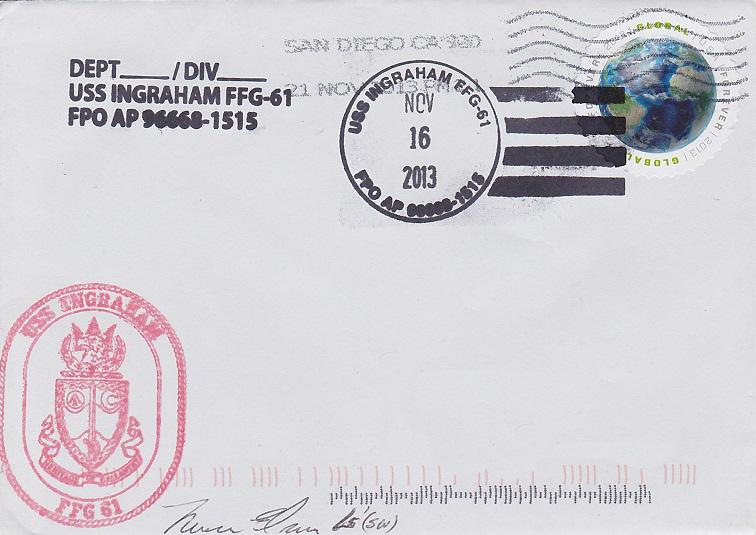 Beleg USS INGRAHAM FFG-61 vom 16.11.2013von Daniel Gornig