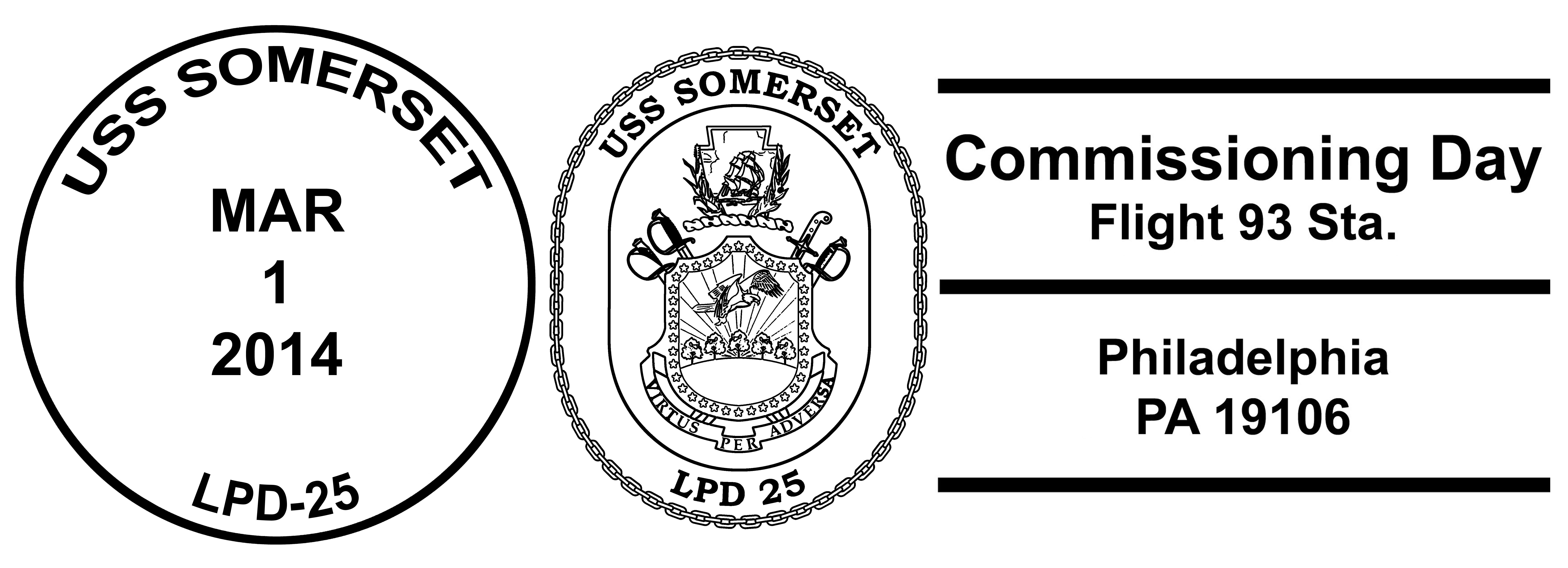 Sonderpoststempel USS SOMERSET LPD-25 Indienststellung PhiladelphiaDesign: Wolfgang Hechler